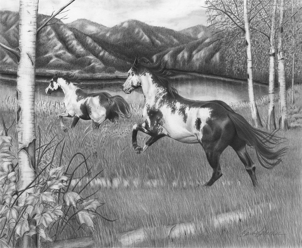 Freedom run original western art pencil drawing